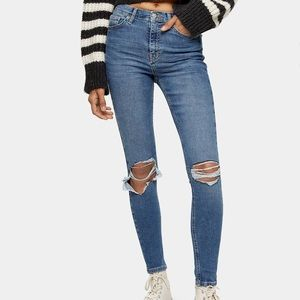 Top shop high waisted ripped jeans